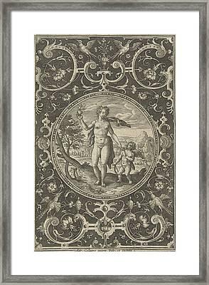 Medallion Which Venus With The Paris Apple In Her Hand Framed Print by Adriaen Collaert