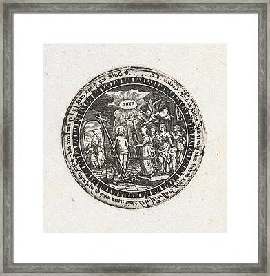 Medallion With A Depiction Of The Marriage Of Christ Framed Print