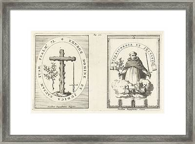 Medallion With Cross Of Knotty Wood Framed Print by Jan Luyken And Henricus Wetstein