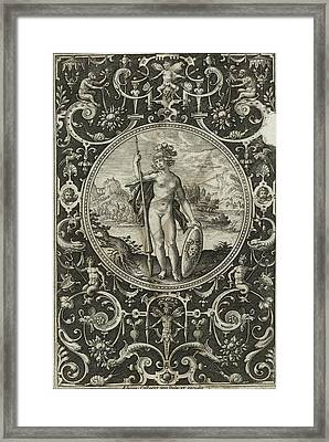 Medallion With Minerva With Spear And Shield With Medusa Framed Print by Litz Collection