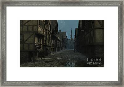 Mediaeval Street At Evening Framed Print by Fairy Fantasies