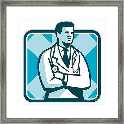 Medical Doctor Physician Stethoscope Standing Retro Framed Print by Aloysius Patrimonio