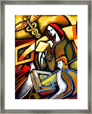 Medical Examination Framed Print by Leon Zernitsky