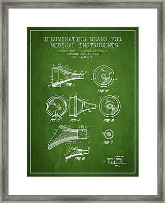 Medical Instrument Patent From 1964 - Green Framed Print by Aged Pixel