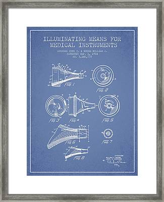 Medical Instrument Patent From 1964 - Light Blue Framed Print by Aged Pixel