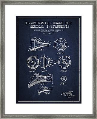 Medical Instrument Patent From 1964 - Navy Blue Framed Print