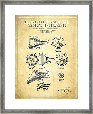 Medical Instrument Patent From 1964 - Vintage Framed Print by Aged Pixel