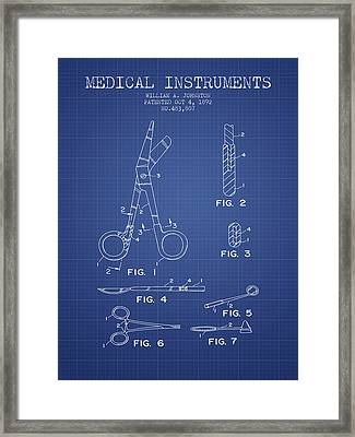 Medical Instruments Patent From 2001 - Blueprint Framed Print