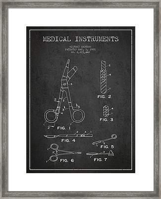 Medical Instruments Patent From 2001 - Dark Framed Print by Aged Pixel