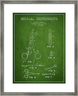 Medical Instruments Patent From 2001 - Green Framed Print by Aged Pixel