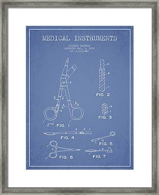 Medical Instruments Patent From 2001 - Light Blue Framed Print