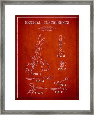 Medical Instruments Patent From 2001 - Red Framed Print by Aged Pixel