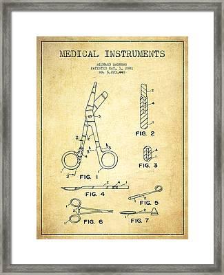 Medical Instruments Patent From 2001 - Vintage Framed Print