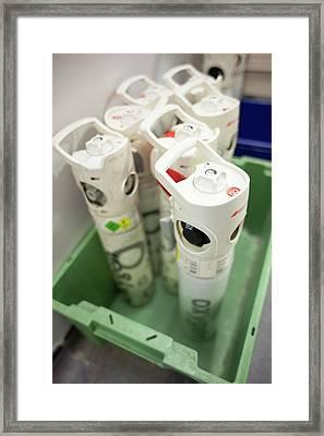 Medical Oxygen Canisters Framed Print