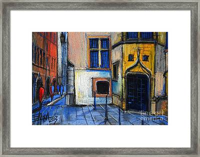 Medieval Architecture In Vieux Lyon France Framed Print by Mona Edulesco