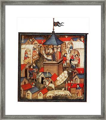 Medieval Benediction And Market Fair Framed Print