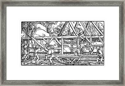 Medieval Builders Framed Print by Science Photo Library