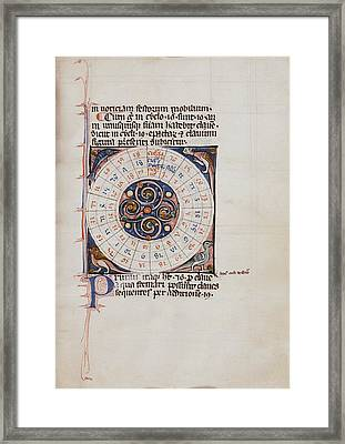 Medieval Chart Of The Decemnovenale Cycle Framed Print by Renaissance And Medieval Manuscripts Collection/new York Public Library