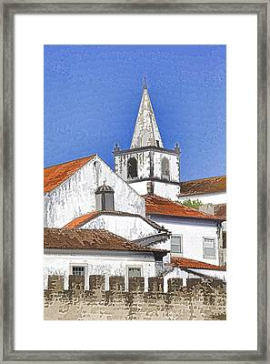 Medieval Church Along The Fortified Castle Wall Framed Print by David Letts