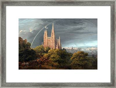 Medieval City On A River Framed Print by Celestial Images