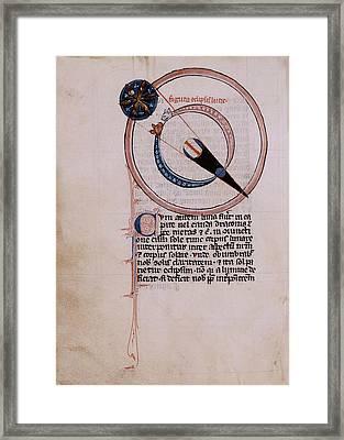Medieval Depiction Of A Lunar Eclipse Framed Print