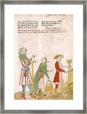 Medieval Farm Workers Framed Print