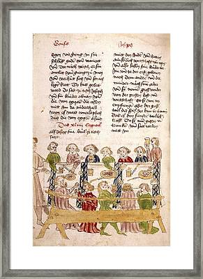 Medieval Feast Framed Print by Renaissance And Medieval Manuscripts Collection/new York Public Library