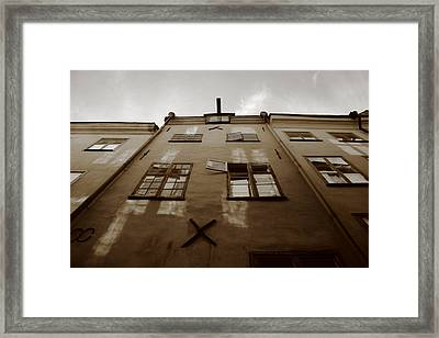 Medieval House With Open Window - Sepia Framed Print by Ulrich Kunst And Bettina Scheidulin