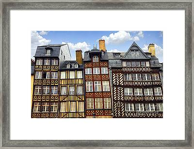 Medieval Houses In Rennes Framed Print by Elena Elisseeva