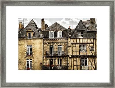Medieval Houses In Vannes Framed Print by Elena Elisseeva