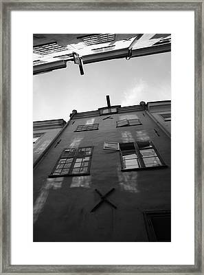 Medieval Houses Seen From Below - Monochrome Framed Print by Ulrich Kunst And Bettina Scheidulin