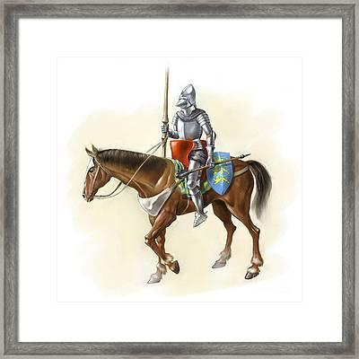 Medieval Knight On Horseback, Artwork Framed Print