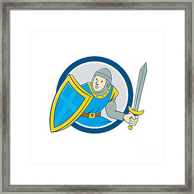Medieval Knight Shield Sword Circle Cartoon Framed Print by Aloysius Patrimonio
