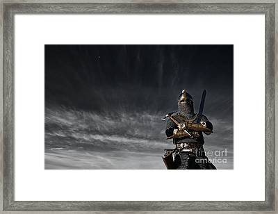 Medieval Knight With Sword And Axe Framed Print