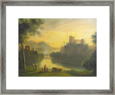 Medieval Landscape With People Framed Print by Unknown