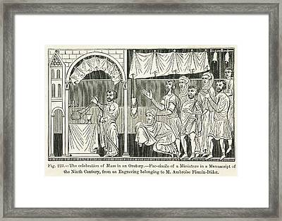 Medieval Mass The Celebration Of Mass Framed Print by Mary Evans Picture Library
