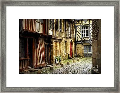 Medieval Street In Rennes Framed Print