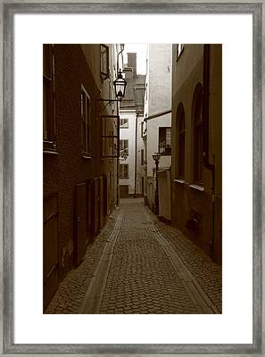 Medieval Street With Lantern - Monochrome Framed Print by Ulrich Kunst And Bettina Scheidulin