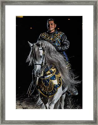 Medieval Times Knight And Horse Framed Print by Gene Sherrill