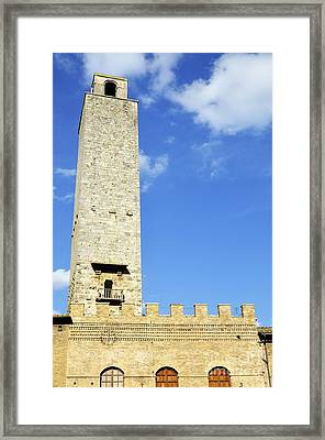 Medieval Tower In San Gimignano Framed Print by Sami Sarkis