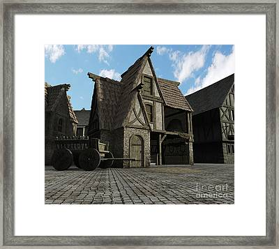 Medieval Town Barn Framed Print by Fairy Fantasies