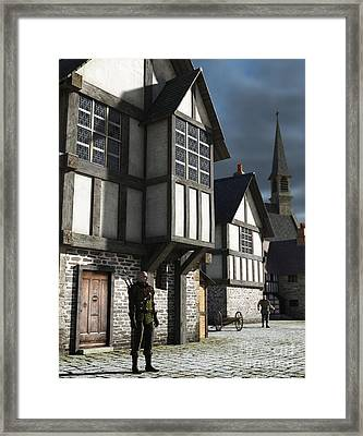 Medieval Town Watchman Framed Print by Fairy Fantasies