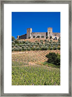 Medieval Walled Village Of Monteriggioni Chianti Tuscany Italy Framed Print by Mathew Lodge