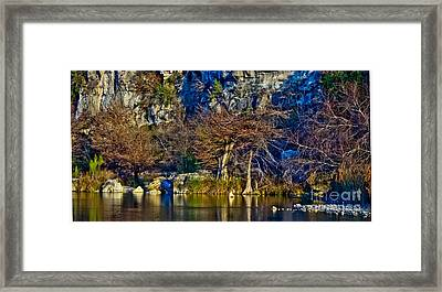 Medina River At Comanche Cliffs Framed Print