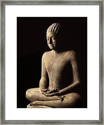 Meditating Buddha, Davaravati Period Framed Print by Thai School