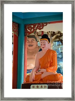Meditating Buddha In Lotus Position Framed Print by Imran Ahmed