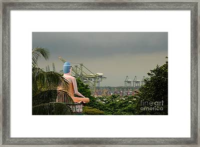 Framed Print featuring the photograph Meditating Buddha Views Container Seaport Singapore by Imran Ahmed