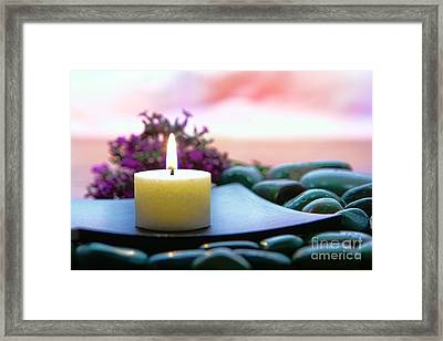 Meditation Candle Framed Print