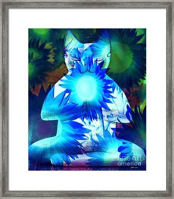 Meditation Kitty / Midnight Meditations On The Blue Sunflower Framed Print by Elizabeth McTaggart