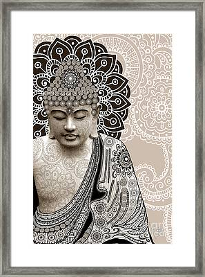 Meditation Mehndi - Paisley Buddha Artwork - Copyrighted Framed Print by Christopher Beikmann